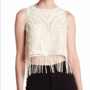 TART boho lace Fringe Crop Top Sleeveless blouse